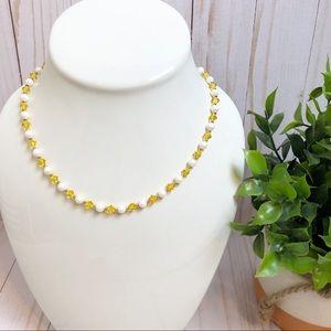 Jewelry - Swarovski Yellow Crystal & Pearl Beaded Necklace